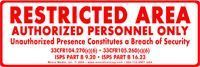 """Picture of 3"""" x 8"""" Restricted Area vinyl sticker"""