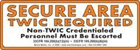 "Picture of 3"" x 8"" Secure Area (TWIC Required) vinyl sticker to designate secure areas on vessels and facilities."