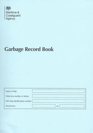 2018 Garbage Record Book - Two parts- Meets new Marpol  Annex V