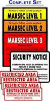 Picture of MTSA-MARSEC Level sign set with Security Notice and Restricted Area stickers. OUTDOOR