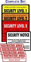 Picture of ISPS-Security Level sign set with Security Notice and Restricted Area stickers.