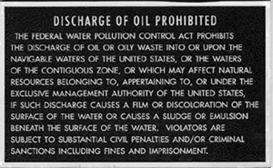 Picture of Oil Discharge Plaque